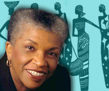 Photograph of Dr.O'Neal with African Women Silhouettes on blue background