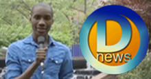 DNews reporter next to logo