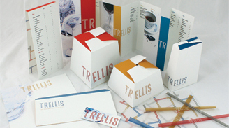 Image of Trellis packaging design by student that includes menus napkins takeout boxes etc