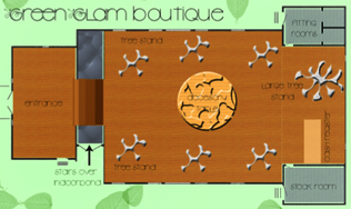 Floor plan drawing for Green boutique