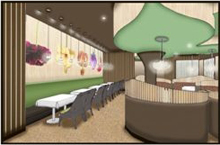 Artist rendering of interior of Ikebana Restaurant