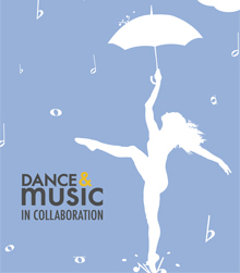 Silhoutte of dancer with umbrella and falling rain drops