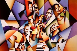 cubist painting of jazz group