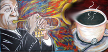 Painting of Jazz played and coffee cup