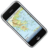 Image of iPhone with Greek Islands on screen