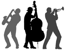 Silhouettes of three jazz musicians