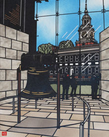 Image of the Liberty Bell and Independence Hall done in Kirie by Kubo Shu