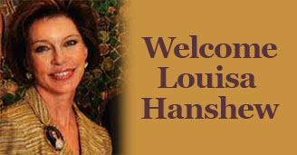 Photograph of Louisa Hanshew with text that reads Welcome Louisa Hanshew