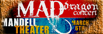 MAD Dragon Concert text with red and blue textured background