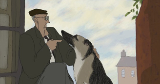 Screen from animated film of a man talking to his dog