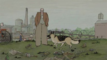 Illustration of man and dog from My Dog Tulip movie