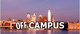 Off Campus logo featuring Philly Skyline