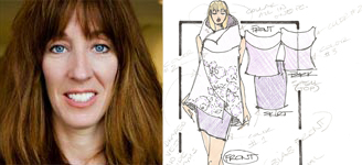 Lisa Hayes and a sketch of her work