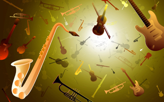 Illustration of musical instruements on green background