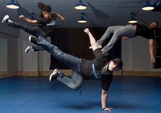photograph of break dancers in action