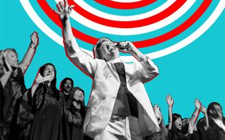Black and White Image of Rev Billy and Choir on red, white and blue background