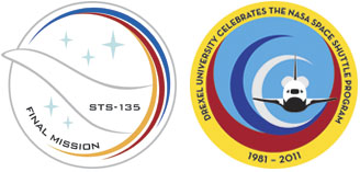 two mission patches designed by students