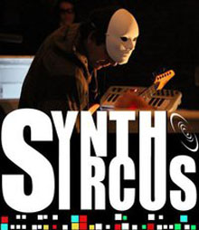 Synth Syrcus logo with man in mask playing the guitar