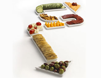 award winning design of food in a directional arrow