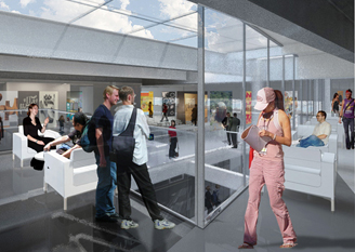 artist's rendering of interior of the URBN center
