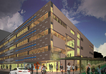 Artist rendering of proposed design for URBN Center