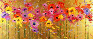Painting of red, purple and yellow poppy flowers