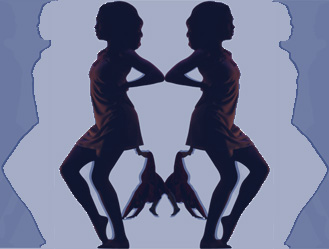 Image of dancers reflected back to back on hues of blue