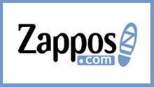 Blue and Black Zappos logo with show graphic