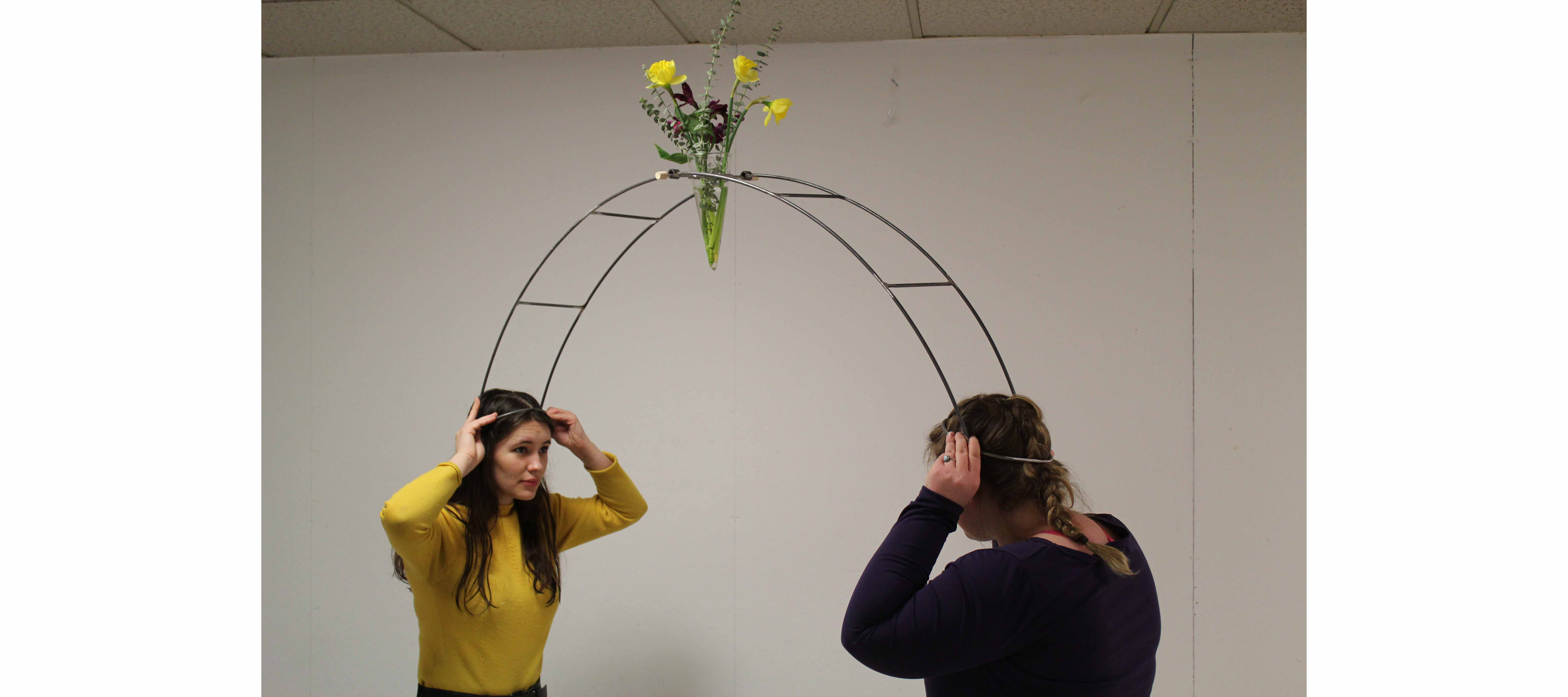 Jenna Lenz and Laeticia Mabilais Estevez with steel fabrication project in Sculpture course