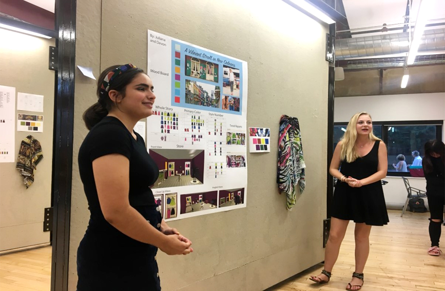 Design and Merchandising students presenting a project in front of peers at Drexel University.