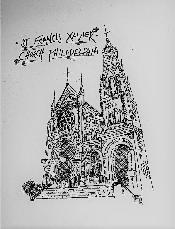 image of student work olivia sketch of st francis xavier church